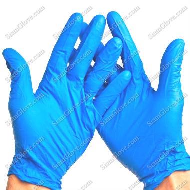 ถุงมือไนไตรสีฟ้าหนา 4, 5, 6 MIL