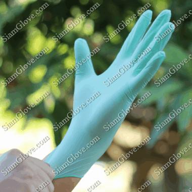 ถุงมือไนไตรสีเขียวหนา 4-5 MIL