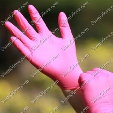 ถุงมือไนไตรสีชมพูหนา 4 MIL